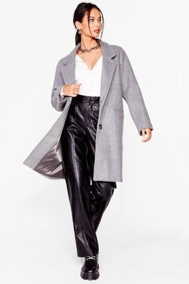 Nasty Gal Womens Love Will Faux Wool Find Away Longline Coat - Grey