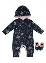 Nickelodeon Infants' Stars 2-Piece Hooded Romper and Bootie Set