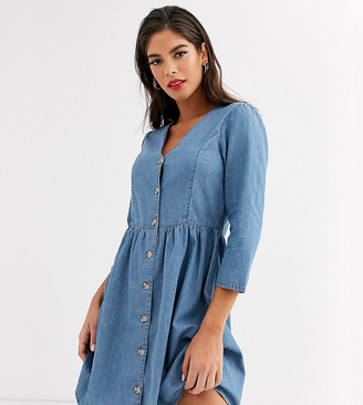 Asos DESIGN Tall soft denim tea dress in midwash blue