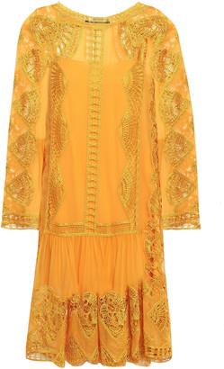 Alberta Ferretti Crocheted Silk-georgette Mini Dress