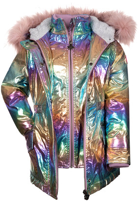 Appaman Girl's Middie Puffer Coat w/ Removable Faux-Fur Trim, Size 2-14