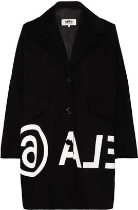 MM6 MAISON MARGIELA Oversized Logo-Print Cocoon Coat