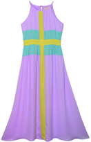Sequin Hearts Lilac & Mint Color Block Sleeveless Maxi Dress - Girls