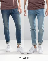 Asos Super Skinny Jeans 2 Pack In Light & Mid Blue SAVE