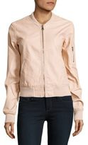 Design Lab Lord & Taylor Faux Leather Bomber Jacket