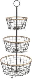 Nkuku 3 Tier Storage Baskets Koba Wire Bowl Stand - Grey