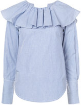 Sea open back ruffle shirt