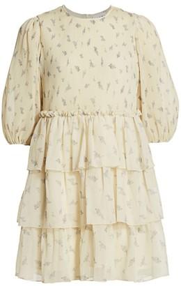 Ganni Floral Pleated Georgette Babydoll Dress