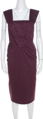Escada Purple Cotton Stretch Pleated Bodice Detail Sleeveless Pencil Dress M