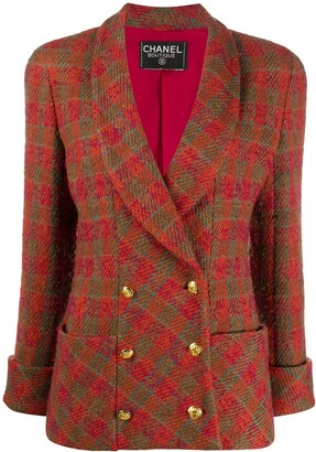 Chanel Pre Owned 1980s Diagonal Check Double-Breasted Blazer