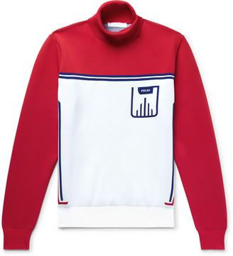 Prada Slim-Fit Logo-Jacquard Knitted Rollneck Sweater