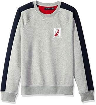 Nautica Men's Logo Color Block Crew Neck Fleece Sweatshirt