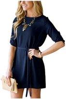 ARJOSA Women's Spring Summer Crewneck Belted Causal Short Dress (S, )