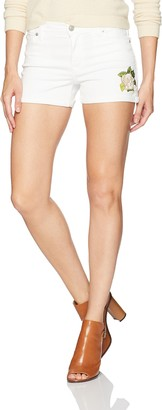 Hudson Women's Asha Embroidered White Midrise Cuffed Jean Shorts