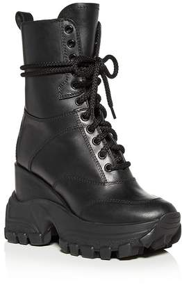 Miu Miu Women's Hidden Wedge Platform Combat Boots