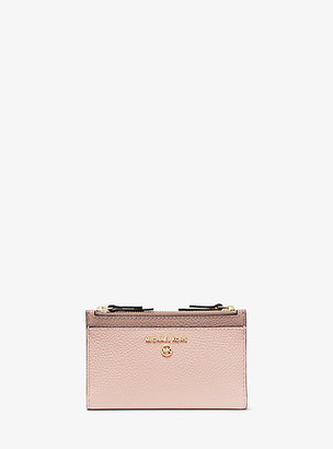 MICHAEL Michael Kors MK Small Two-Tone Pebbled Leather Double-Zip Card Case - Sftpink/fawn - Michael Kors