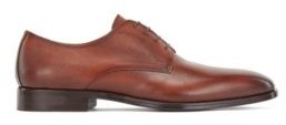 HUGO BOSS Derby Shoes In Grained Structured Leather - Brown