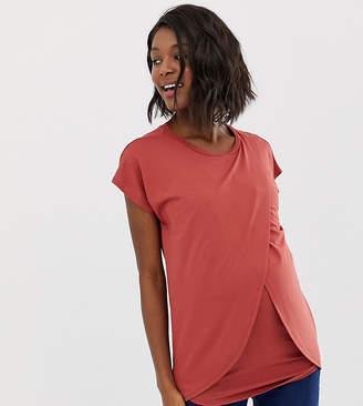 Asos Nursing DESIGN Maternity nursing t-shirt with wrap overlay-Brown