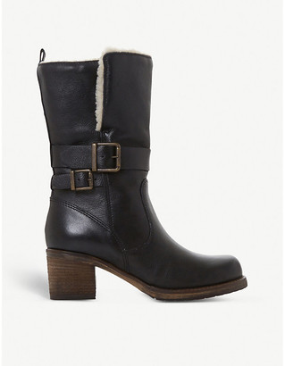 Dune Rokoko fleece-trimmed leather ankle boots