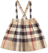 Burberry Sofia Pleated Check Skirt w/ Suspenders, Tan, Size 3M-3