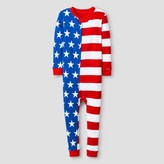Snooze Button Toddler's Snooze Button Stars and Stripes Union Suit Pajamas - Red
