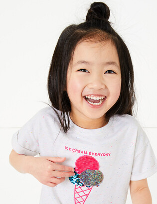 Marks and Spencer Cotton Reversible Sequin Ice Cream T-shirt (2-7 Yrs)