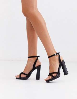New Look leather look strappy heeled sandals in black