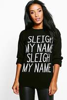 boohoo Charlotte Sleigh My Name Christmas Jumper black