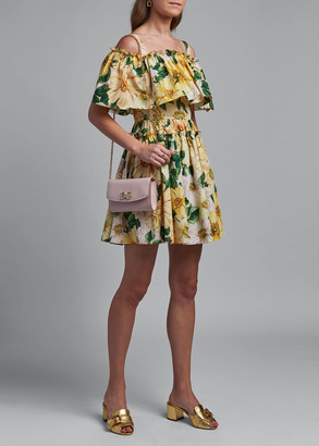 Dolce & Gabbana Off-the-Shoulder Floral Print Cotton Dress