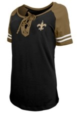 5th & Ocean New Orleans Saints Women's Logo Lace Up T-Shirt