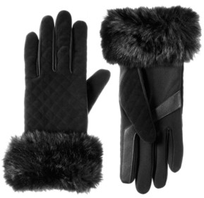 Isotoner Signature Women's Velvet Quilted Gloves with Faux Fur
