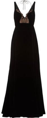 Antonio Berardi Lace-paneled Velvet Gown