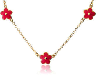 Little Miss Twin Stars Frosted Flowers 14K Plated Enamel Necklace