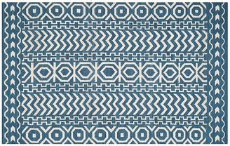 One Kings Lane Adella Flat-Weave Rug - Blue - 5'x8'