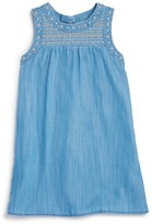 Aqua Girls' Embroidered Chambray Dress - Sizes S-XL