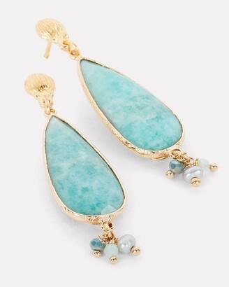 Gas Bijoux Serti Goutte Turquoise Teardrop Earrings