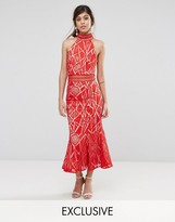 Jarlo High Neck Midi Dress In Lace