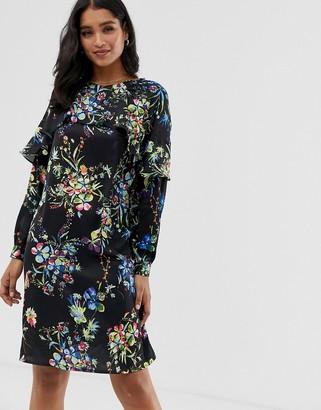 Liquorish floral mini shift dress with frill detail-Black