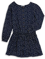 Dex Star-Print Long-Sleeve Fit-and-Flare Dress