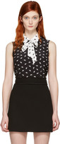 Miu Miu Black Silk Cat Tank Top