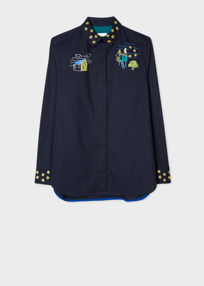 Women's Navy Embroidered 'Houses' Cotton Shirt