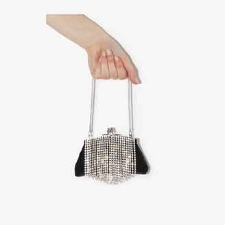 Black & Brown black Flora crystal fringe clutch bag