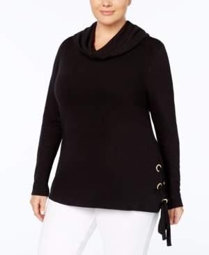 Belldini Plus Size Lace-Up Cowl-Neck Top