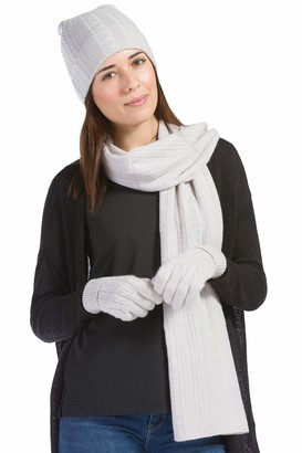 Fishers Finery Women's Pure Cashmere Cable Knit Hat Glove Scarf Set with Exquisite Box - Beige - One size