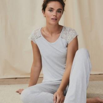 The White Company Contrast Lace Pyjama Set, Pale Blue Marl, Extra Small