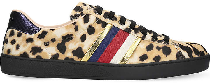 Gucci New Ace leopard-print pony-hair trainers