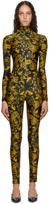 Versace Jeans Couture Black and Gold Paisley Print Jumpsuit