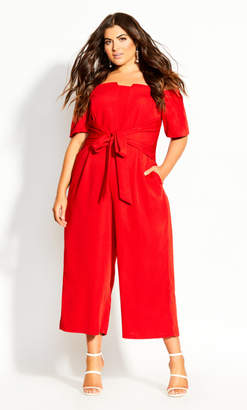 City Chic Lush Shoulder Jumpsuit - red