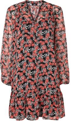 Wallis Red Floral Print Tiered Hem Dress