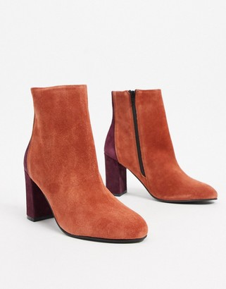 ASOS DESIGN Resilient leather heeled boots in rust
